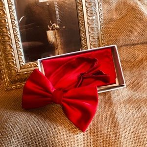 Brand Q red bowtie and pocket square